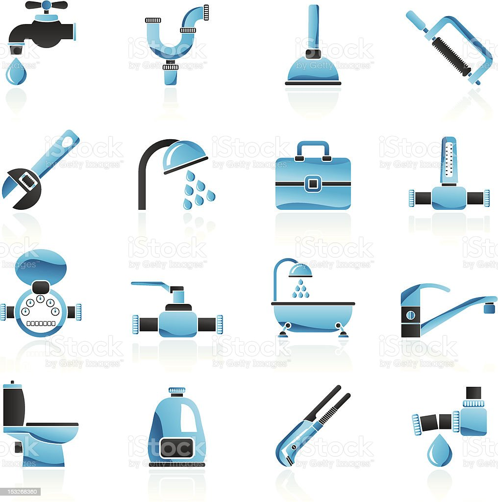 plumbing objects and tools icons royalty-free stock vector art