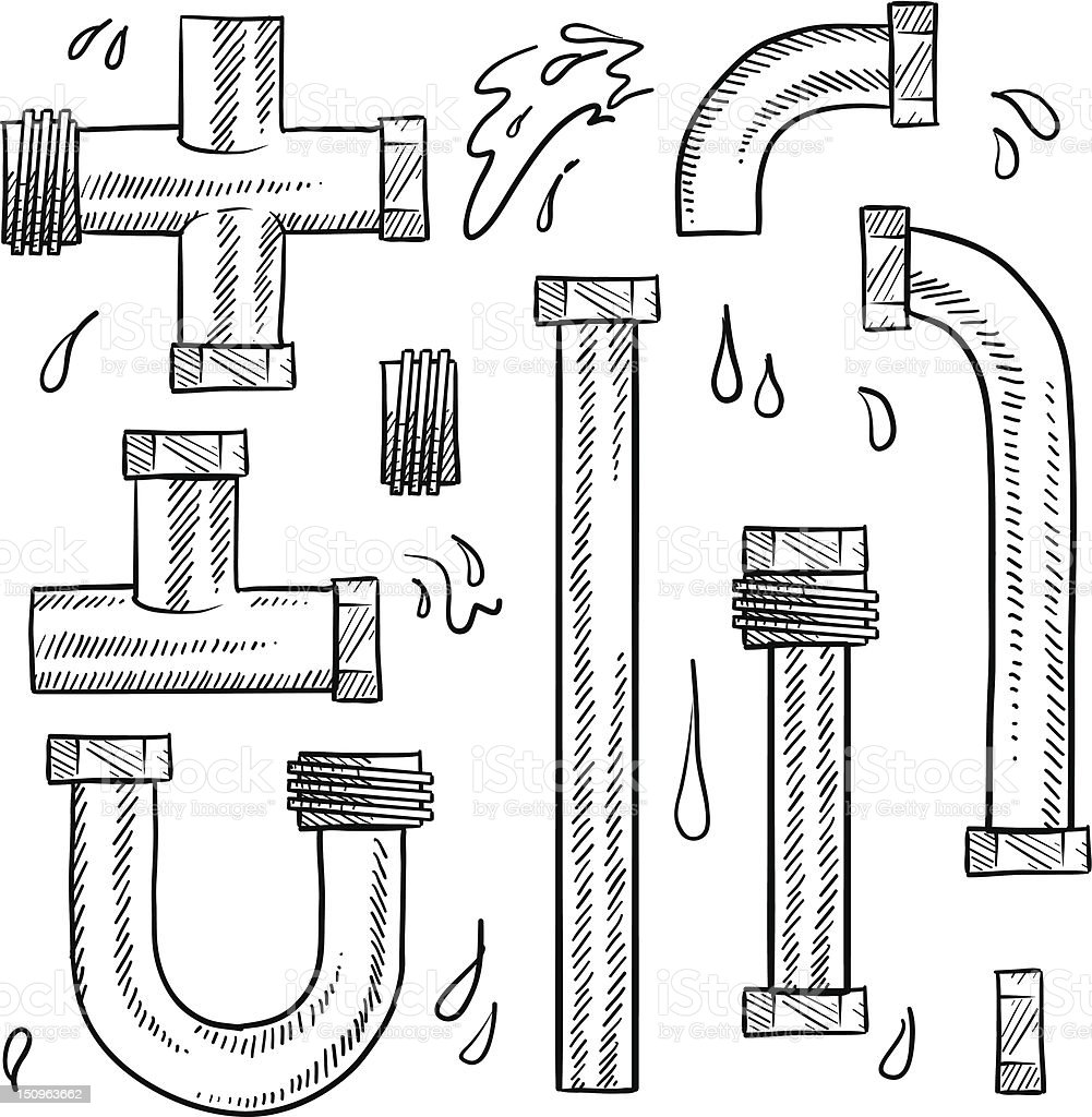 Plumbing pipes vector sketch royalty-free stock vector art