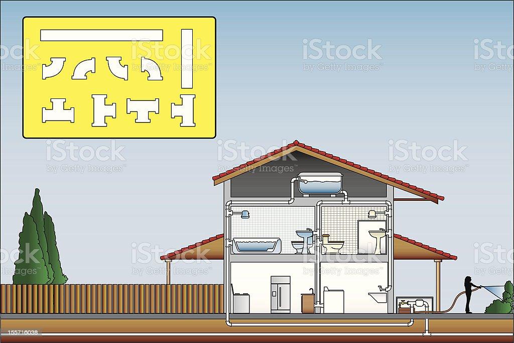 Plumbing Plan & Pieces vector art illustration