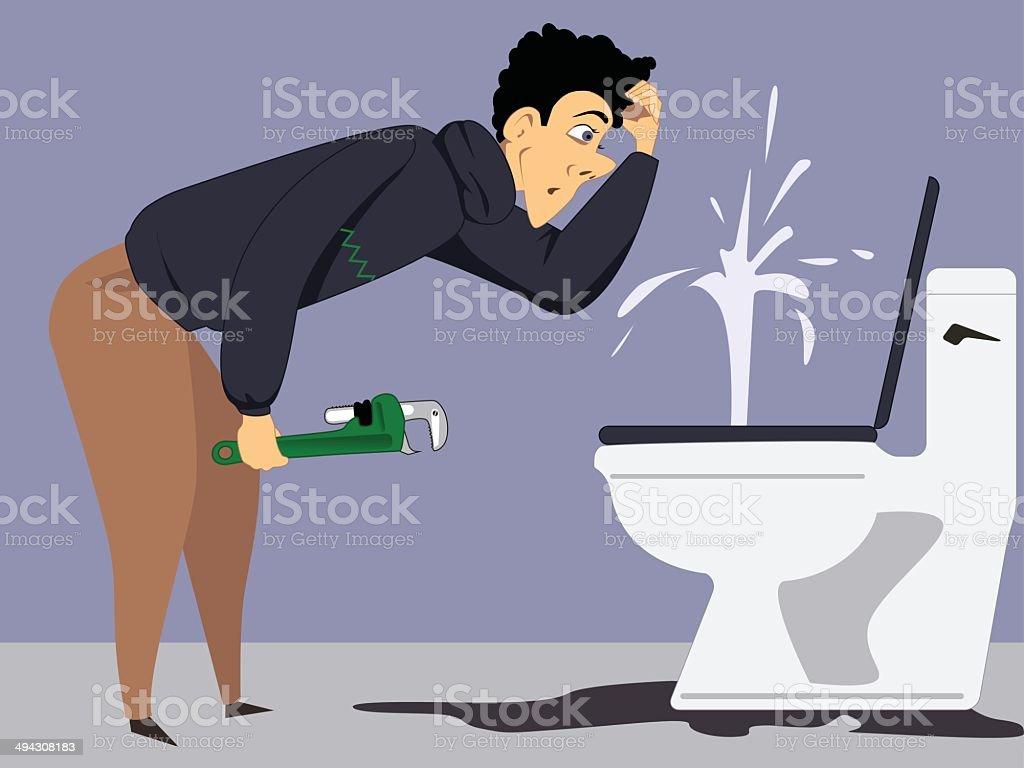 Plumbing problem vector art illustration