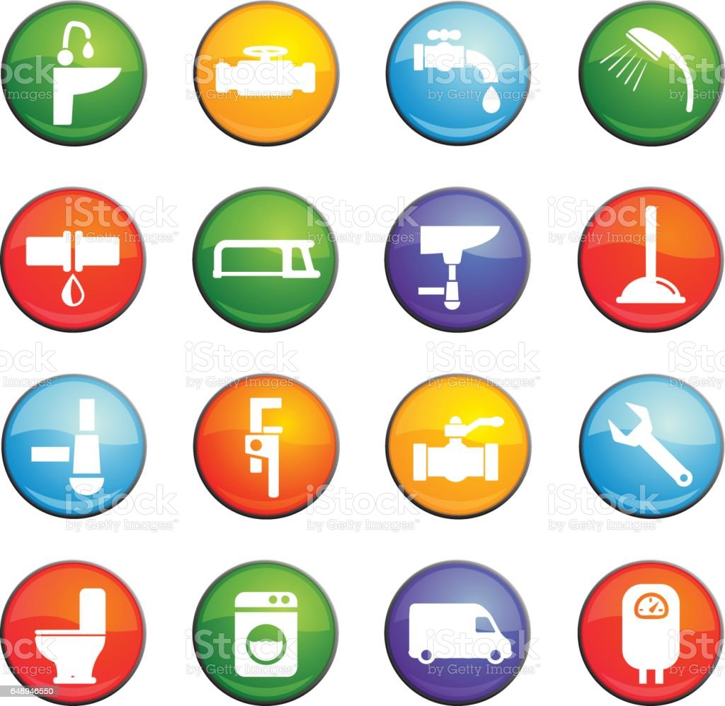 plumbing service icon set vector art illustration