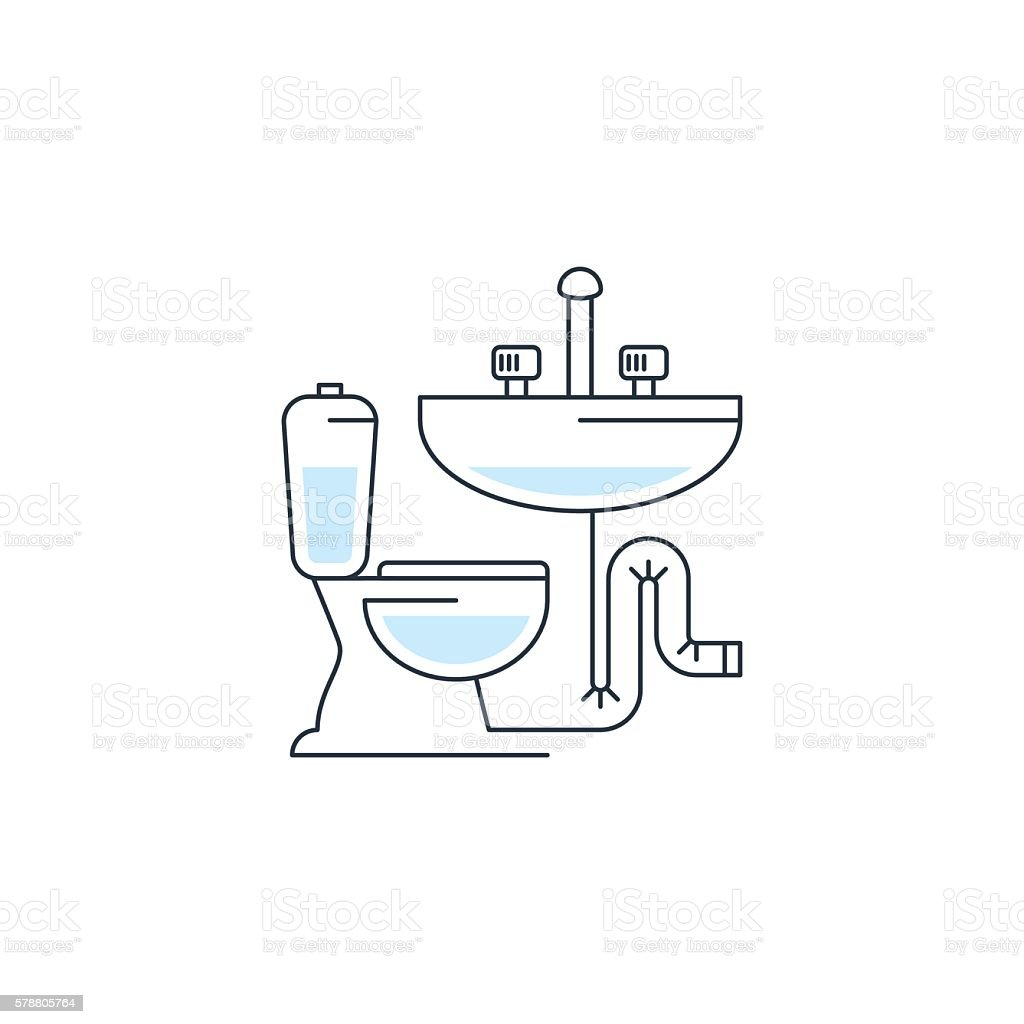 Plumbing service logo, pipes connection, water repair works, facility installment vector art illustration