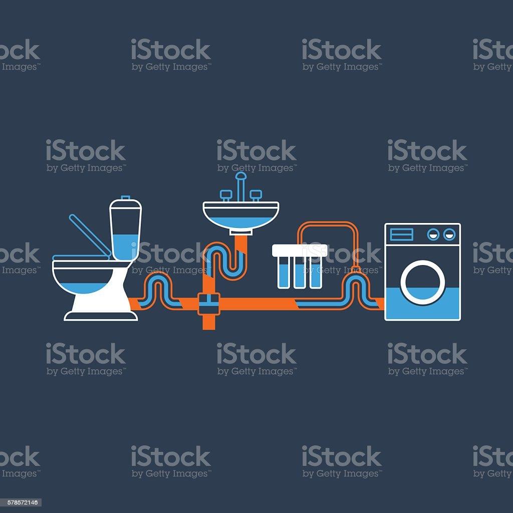 Plumbing services, pipes arrangement, tubes vector art illustration