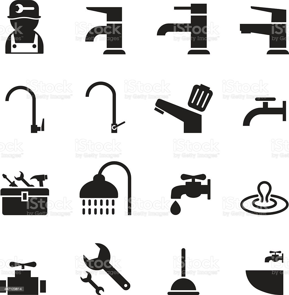 Plumbing & tools Icons set vector art illustration