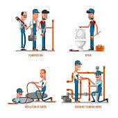 Plumbing work. Plumbers and repairs vector illustration
