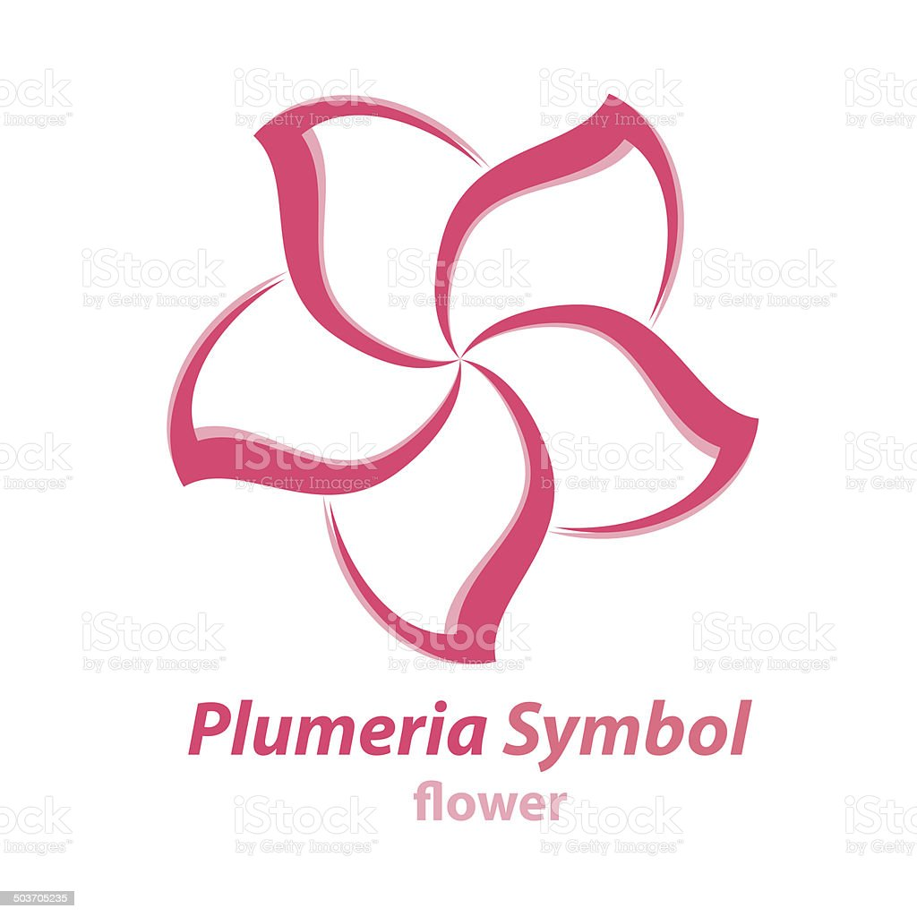 Plumeria (frangipani) flower symbol vector art illustration