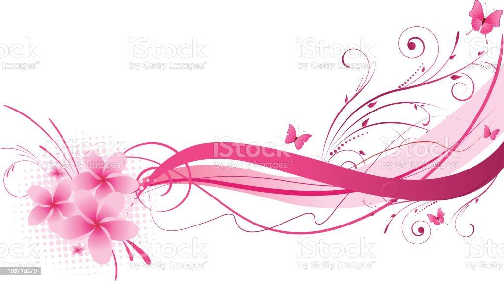 Plumeria pink florals design royalty-free stock vector art