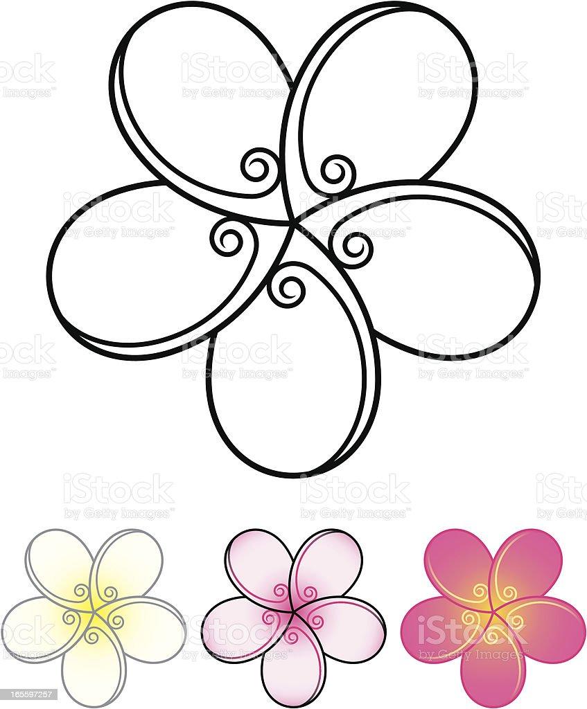 Plumeria stylized vector art illustration