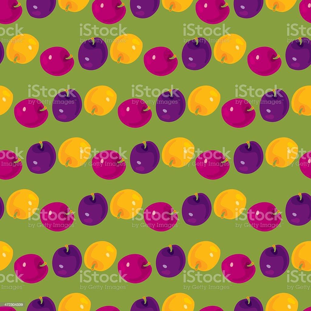 Plums Pattern vector art illustration