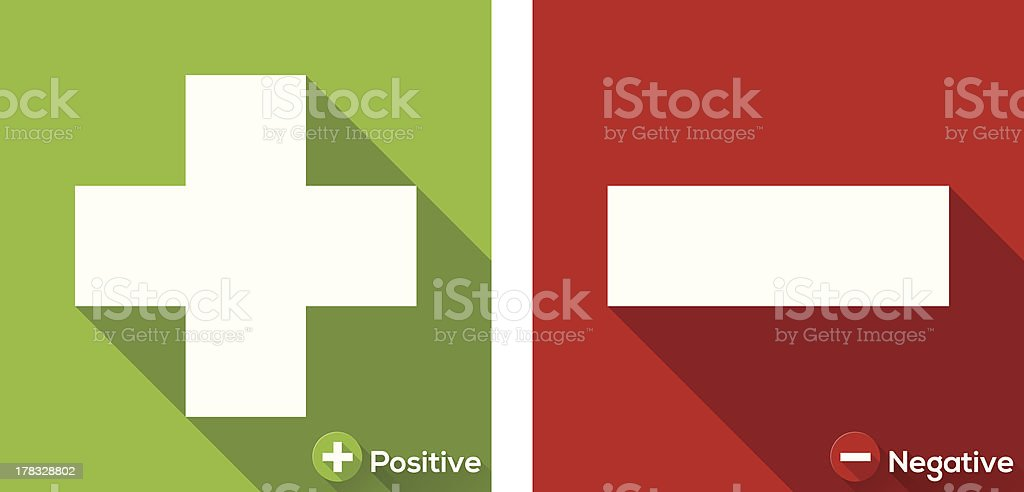 Plus and Minus flat icon with long shadow vector art illustration