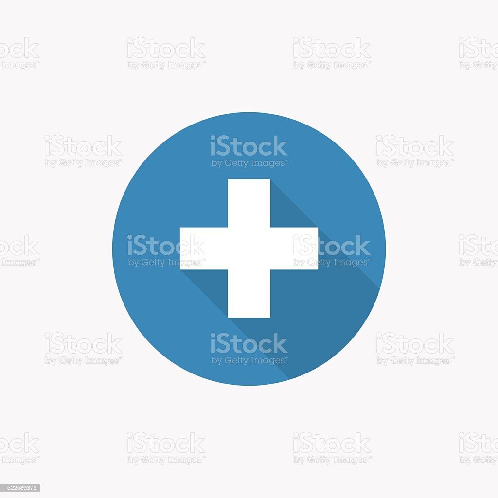 plus Flat Blue Simple Icon with long shadow vector art illustration
