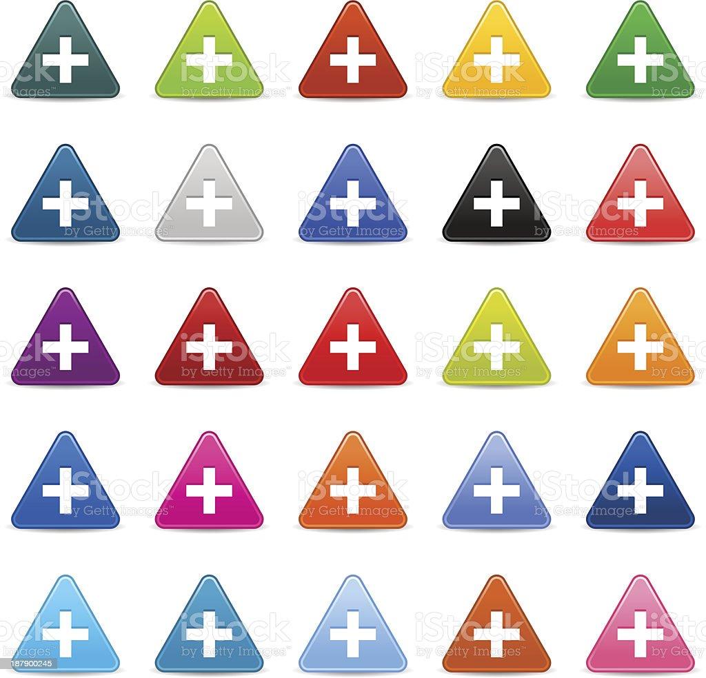 Plus sign white pictogram satin triangle icon web iternet button royalty-free stock vector art