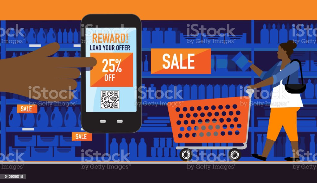 Plus size african american woman shopping with smart phone coupon vector art illustration