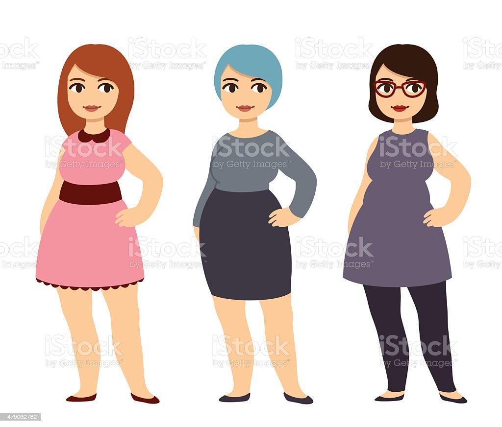 Plus size fashion vector art illustration