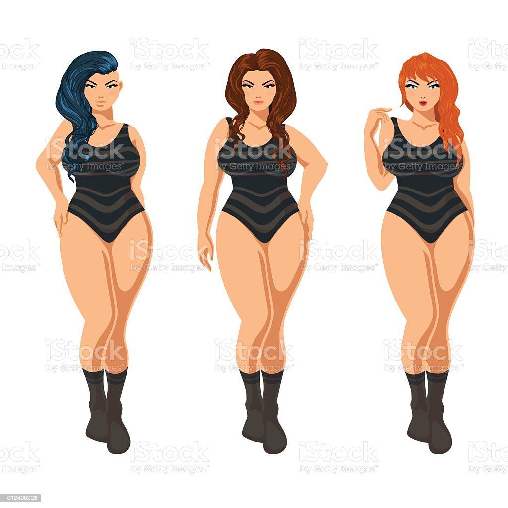 Plus size models in lingerie. vector art illustration