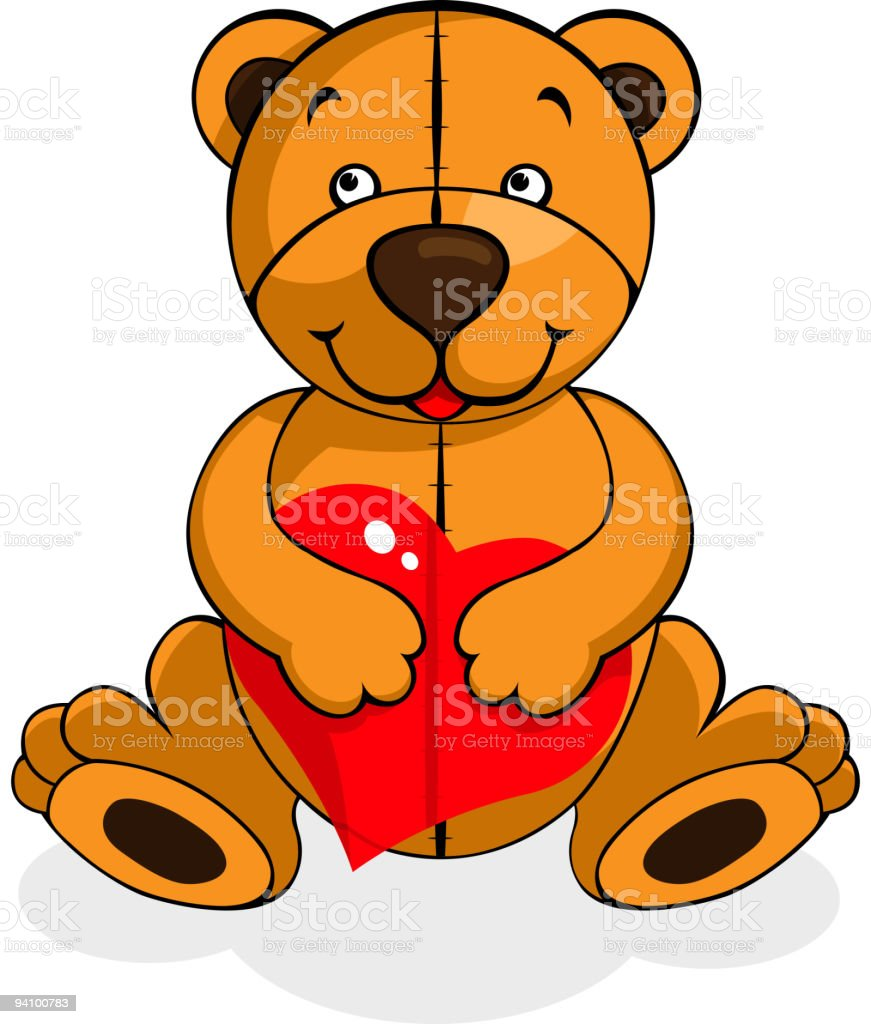 plush bear with ruby heart royalty-free stock vector art