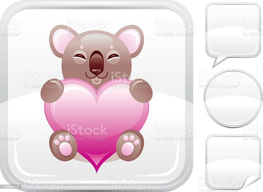 Plush koala with heart icon on silver button royalty-free stock vector art