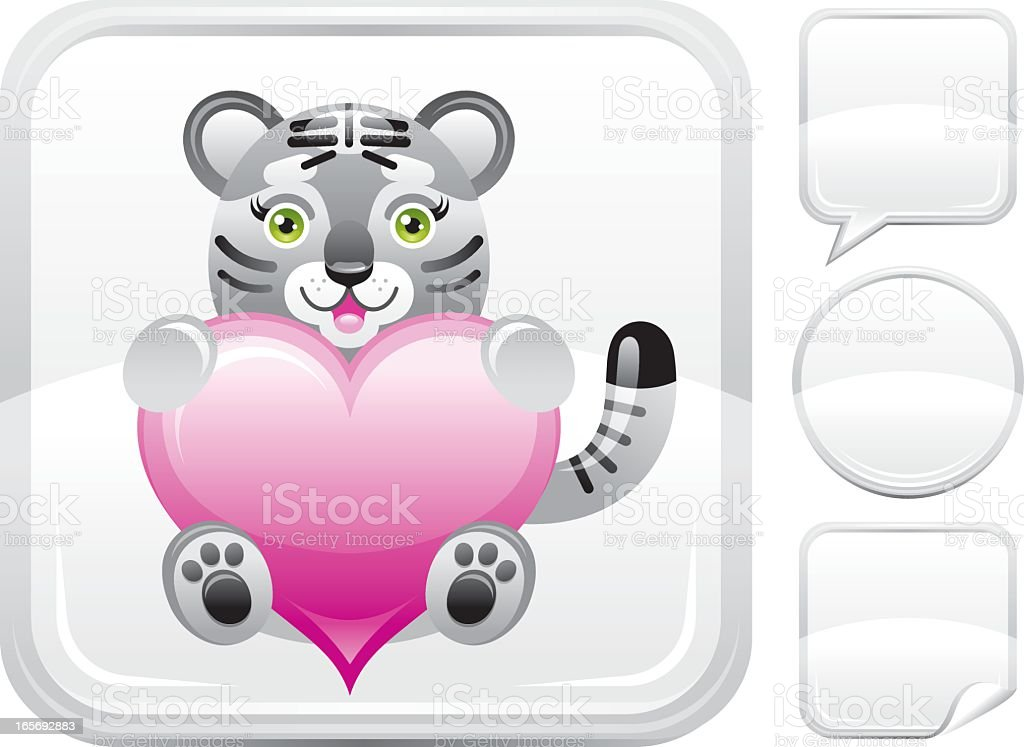 Plush white tiger with heart icon on silver button royalty-free stock vector art