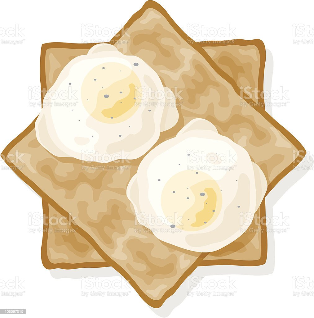 Poached Eggs on Toast vector art illustration