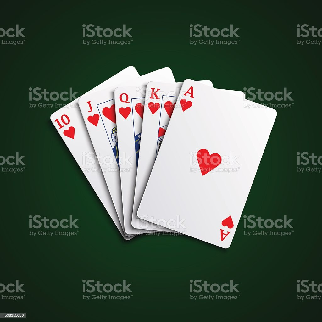 Pocker cards flush hearts hand vector art illustration