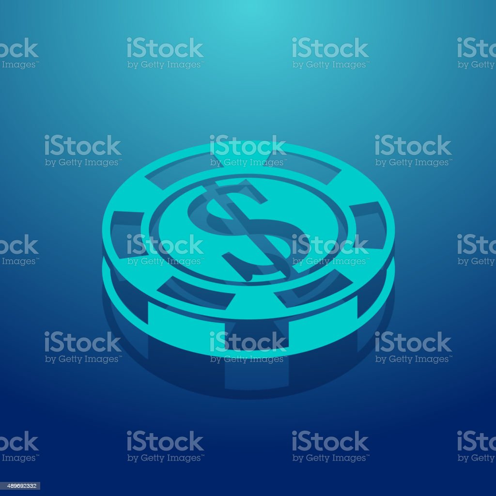 Pocker Coin Icon vector art illustration