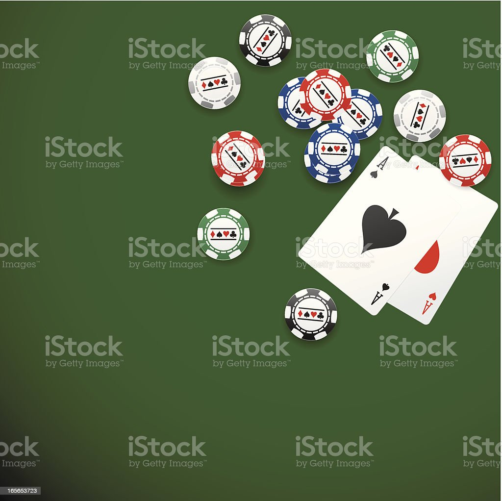 Pocket aces and chips on poker table royalty-free stock vector art