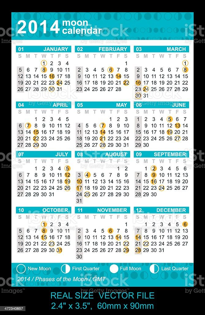 Pocket calendar 2014 with Phases of the moon/ GMT royalty-free stock vector art