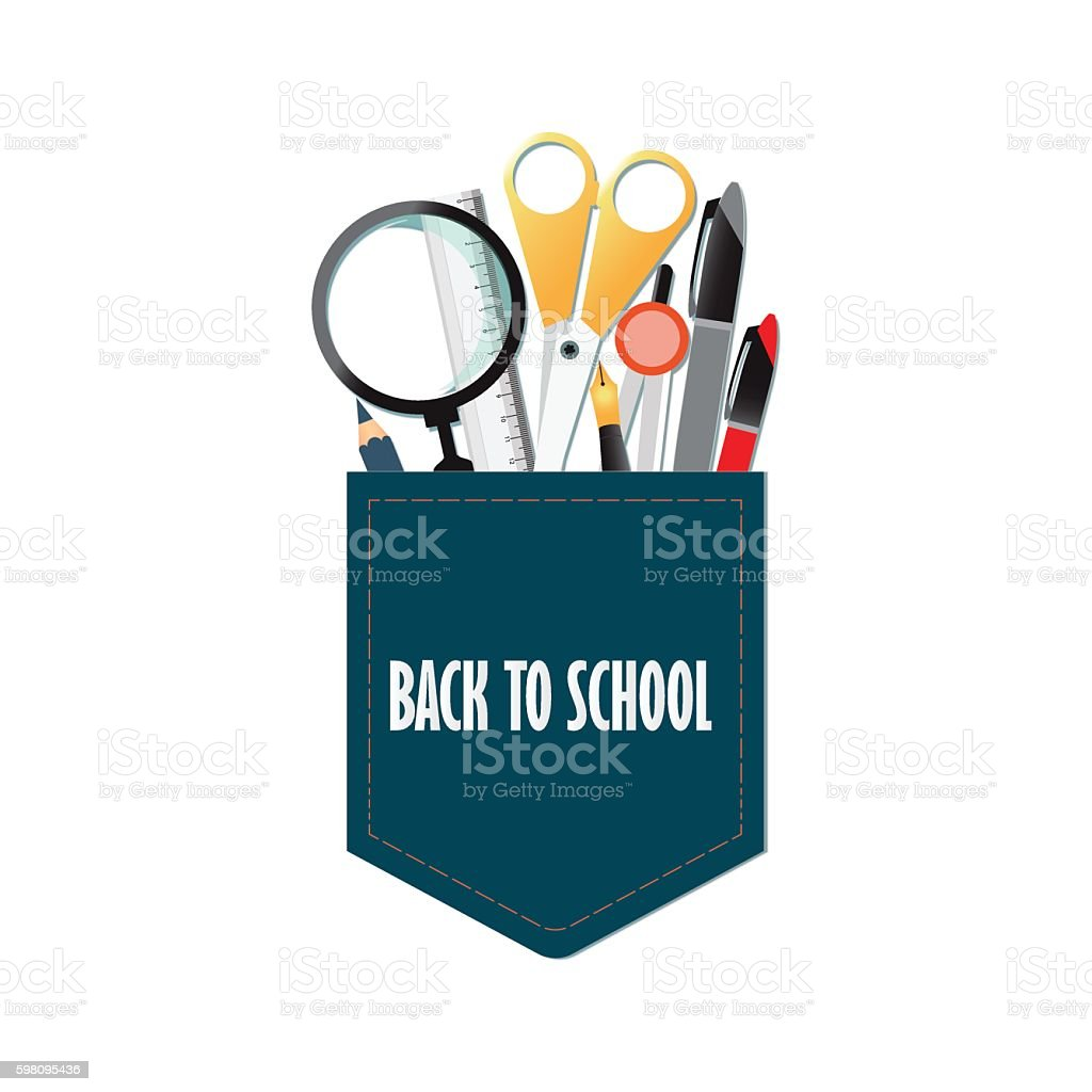 Pocket of Back to school conceptual with office supply. vector art illustration