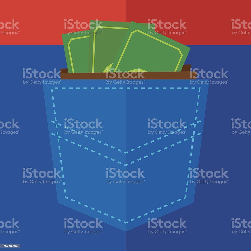 Pocket of Money vector art illustration