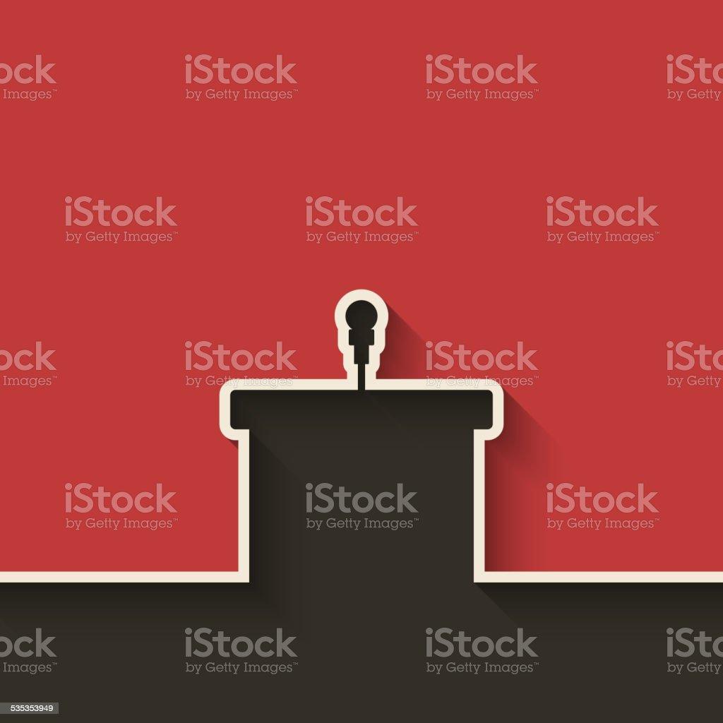 podium with microphone vector art illustration