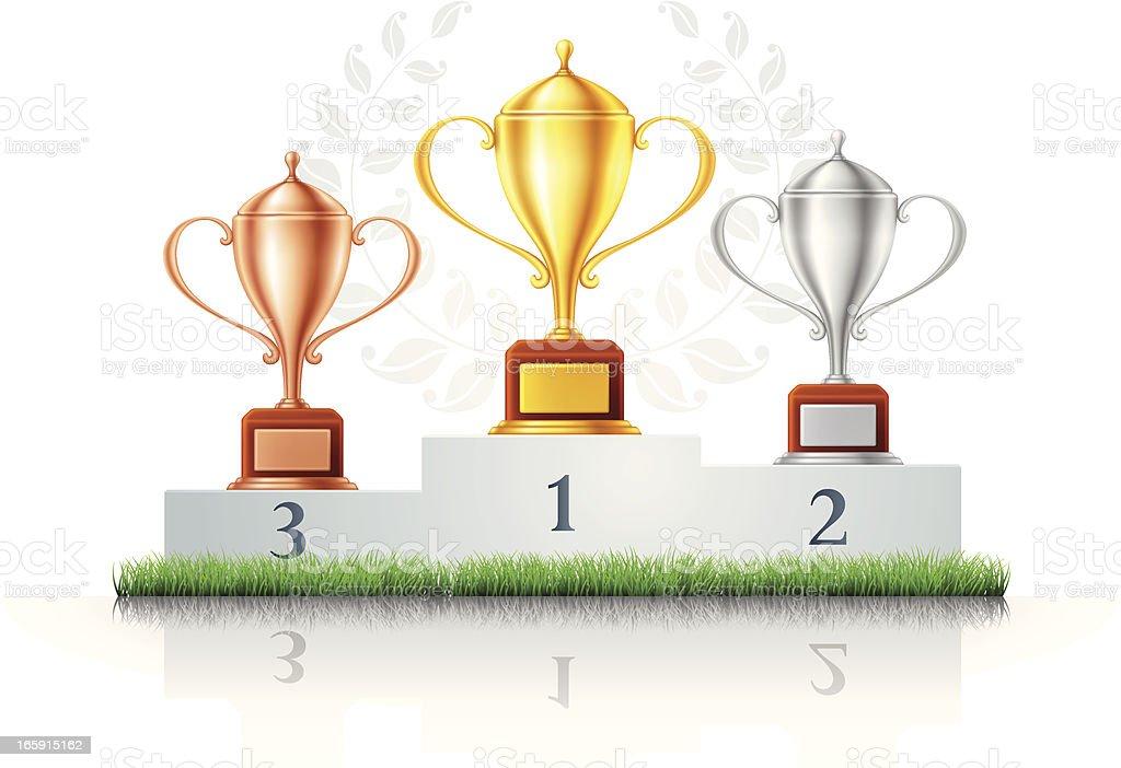 Podium with Trophies and Grass vector art illustration