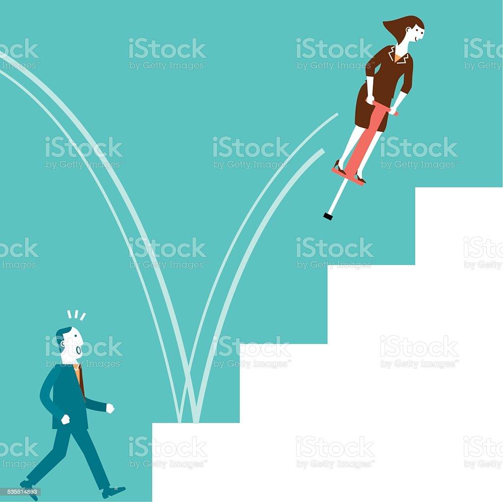 Pogo Stick Jumping Businesswoman | New Business Concept vector art illustration