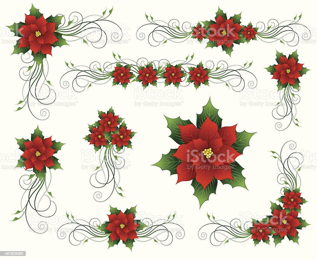 Poinsettia Christmas Floral Element royalty-free stock vector art