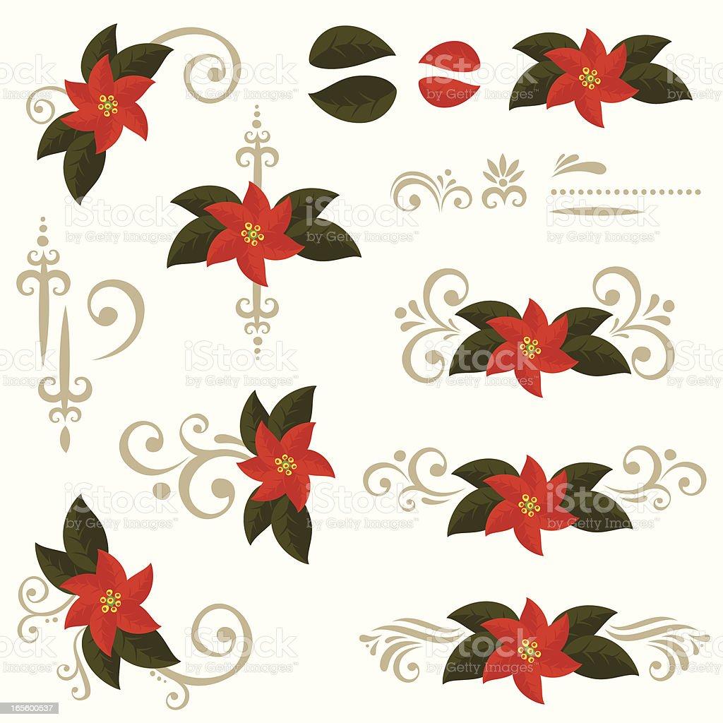 Poinsettia design elements royalty-free stock vector art