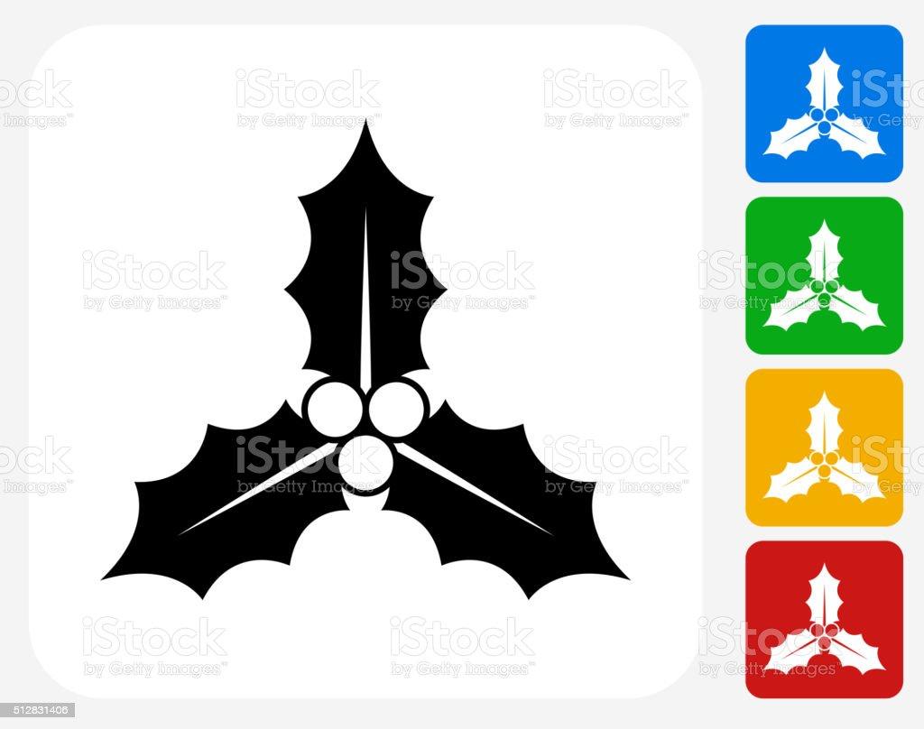 Poinsettia Icon Flat Graphic Design vector art illustration