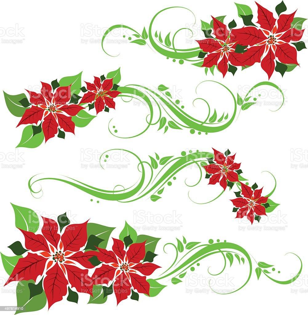 poinsettia ornament vector art illustration