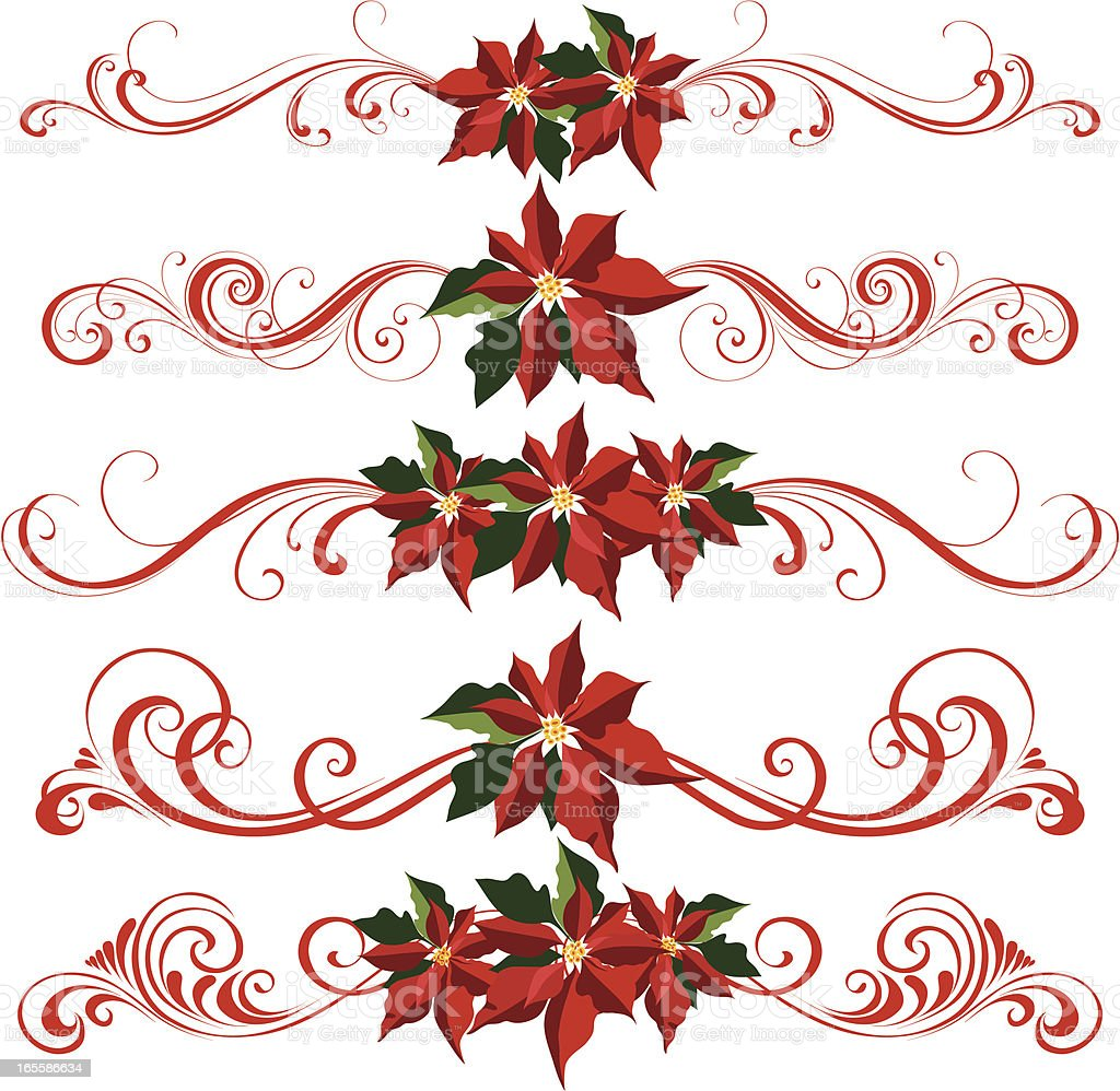 poinsettia ornaments vector art illustration
