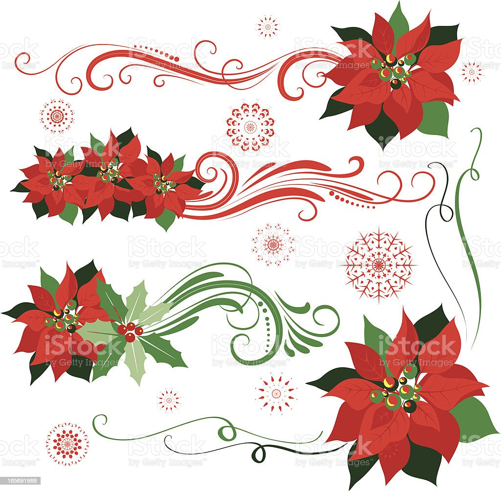 Poinsettia ornaments royalty-free stock vector art