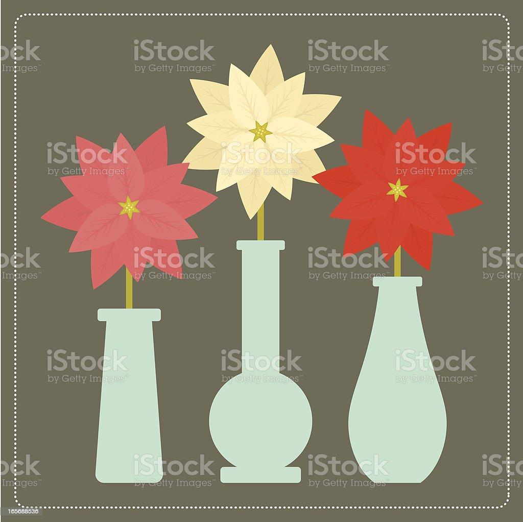 Poinsettia Trio vector art illustration