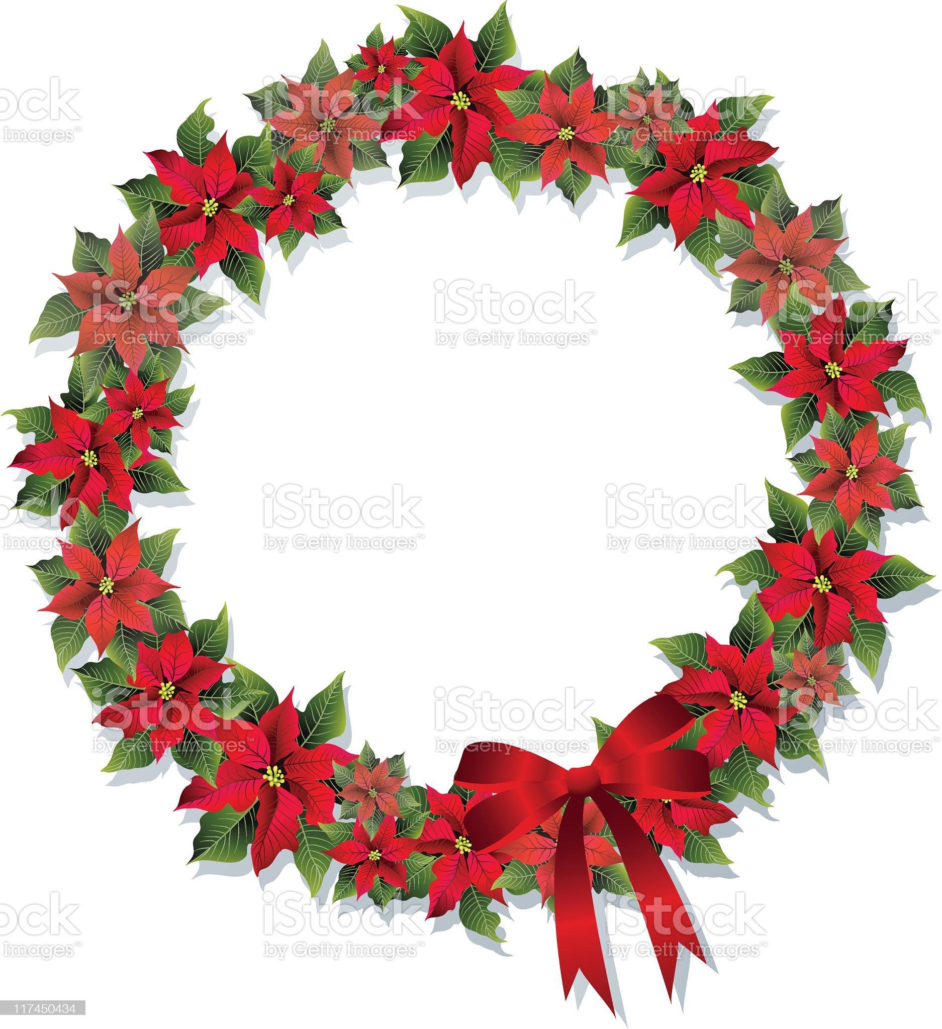Poinsettia Wreath royalty-free stock vector art