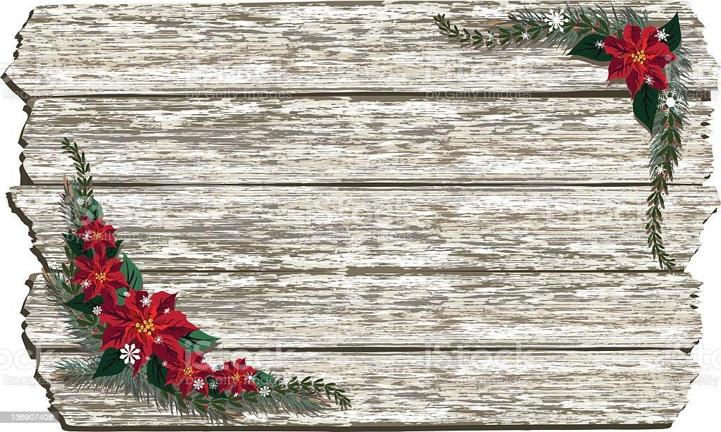 Poinsettias On Whitewashed Wood stock photo