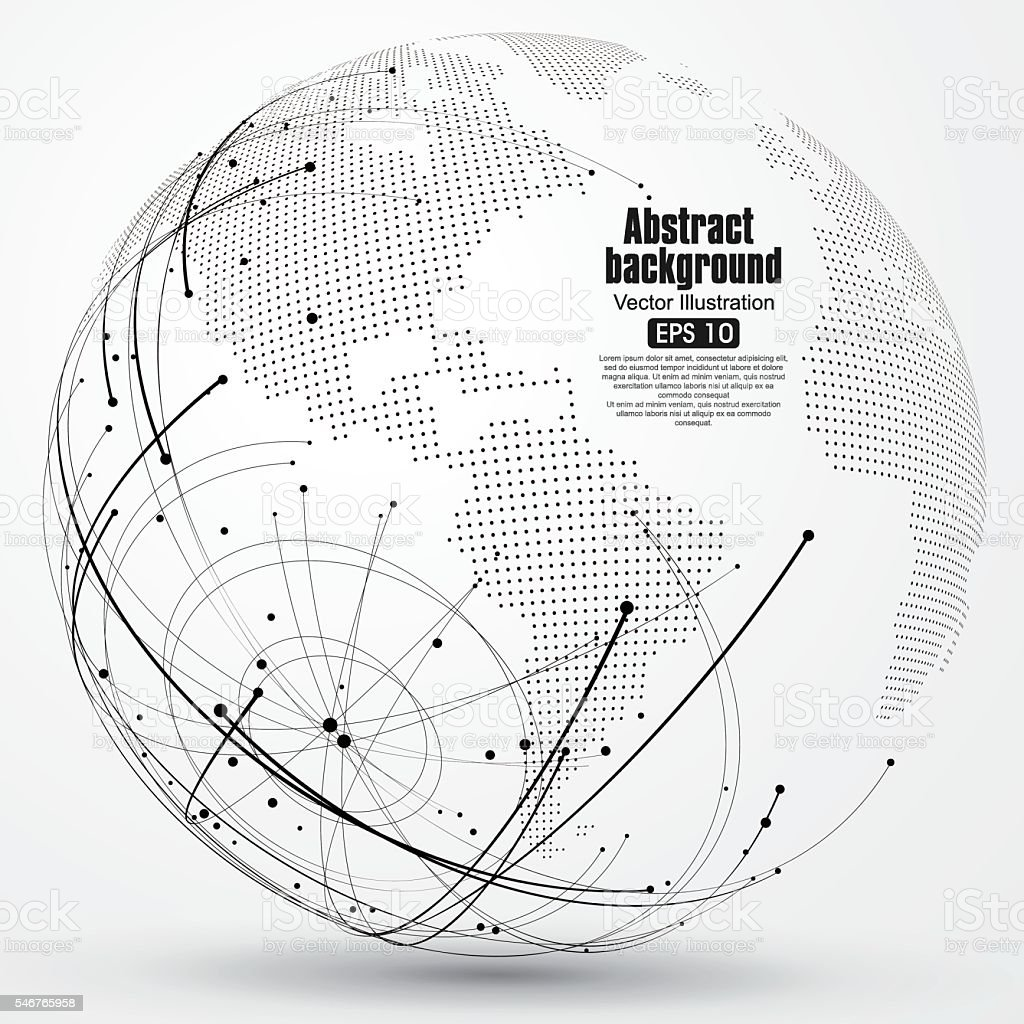 Point and curve constructed the sphere wireframe, abstract illustration. vector art illustration