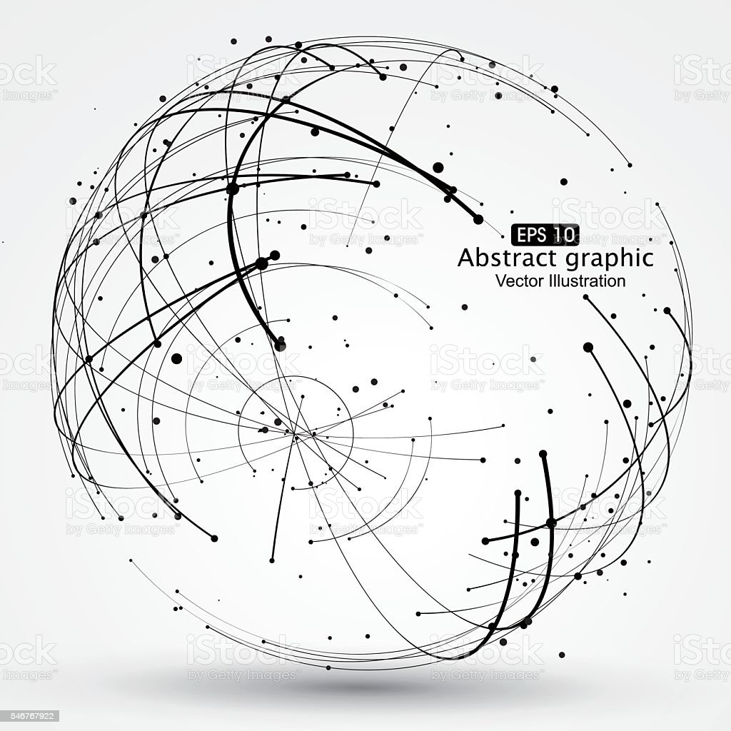 Point and curve constructed the sphere wireframe. vector art illustration