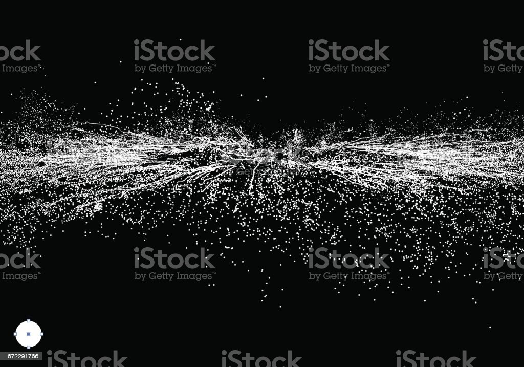 Point Explode. Array with Dynamic Emitted Particles. Abstract Background. Vector Illustration. vector art illustration