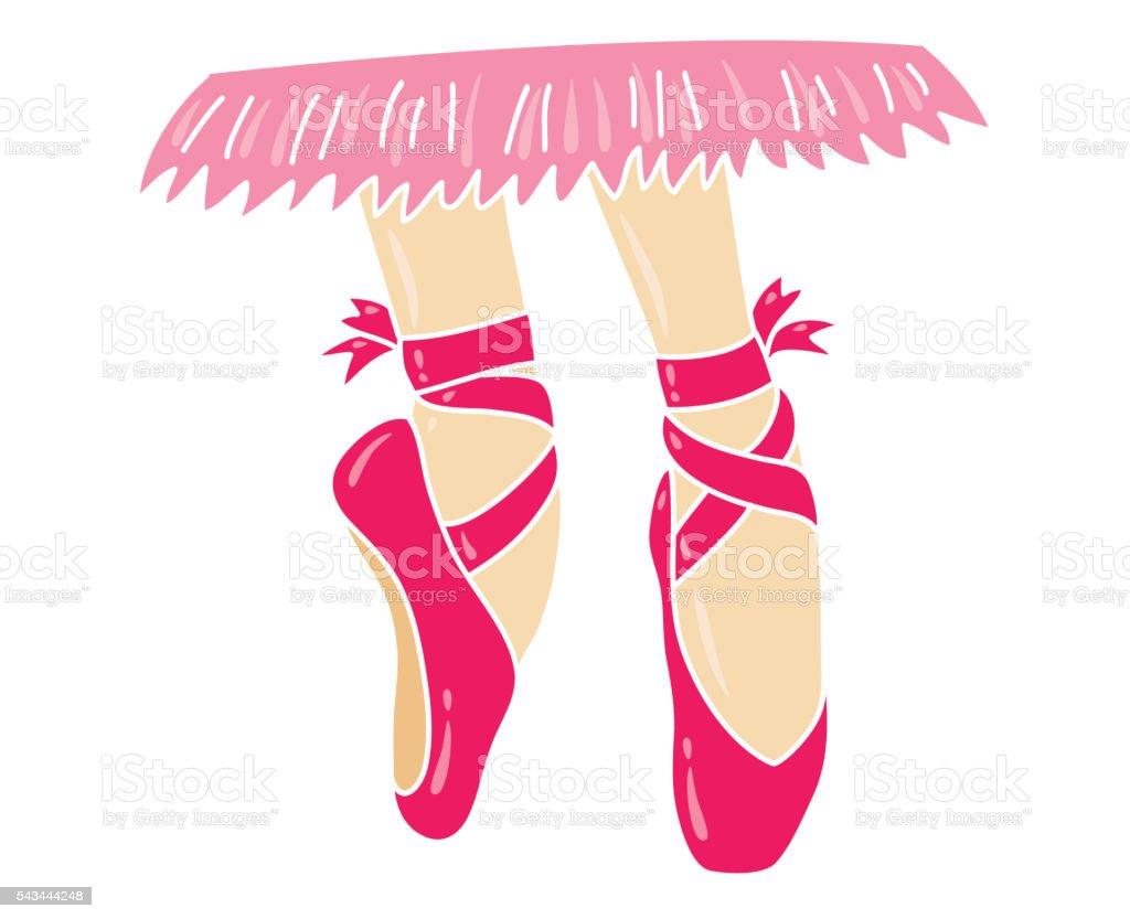 Pointe shoes vector art illustration