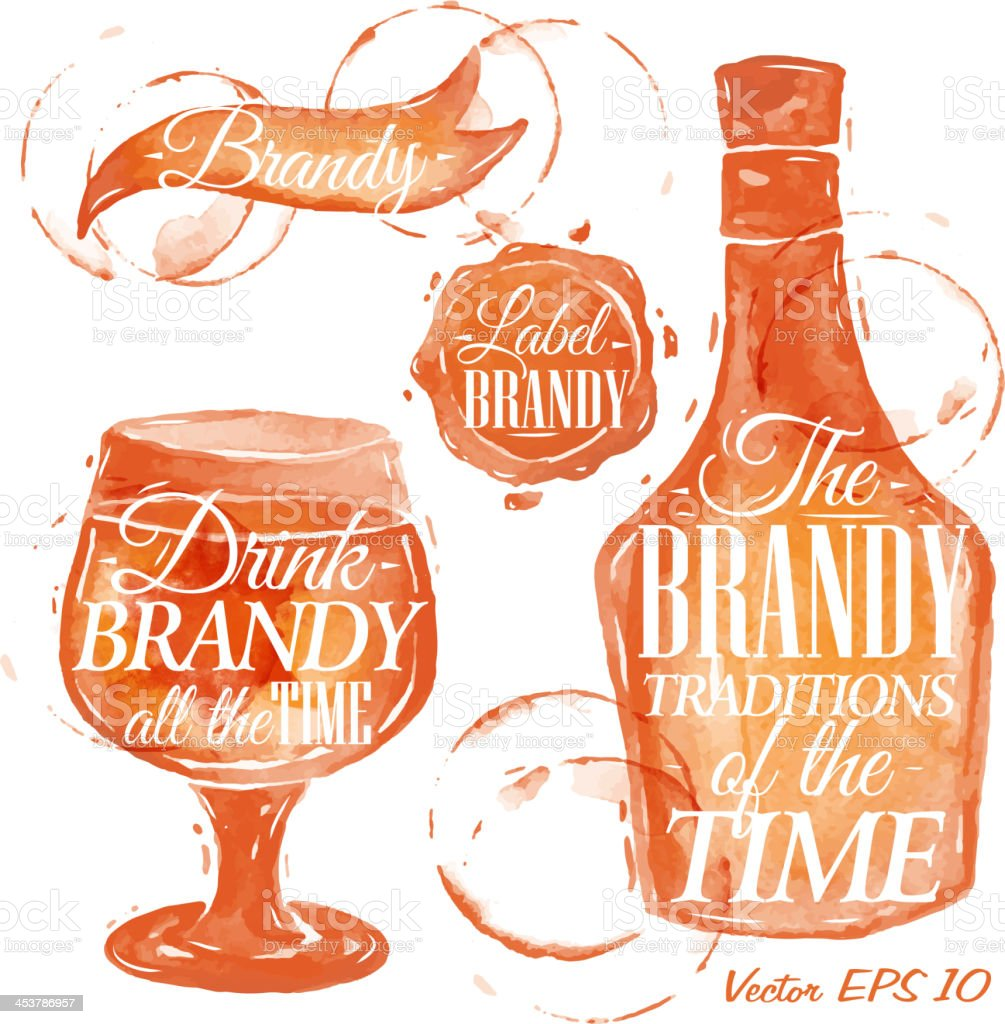 Pointer drawn pour brandy with the inscriptions. vector art illustration