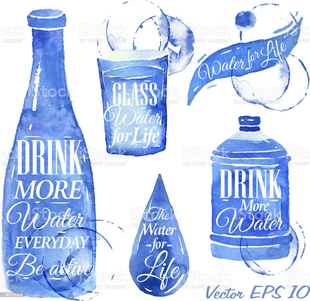 Pointer drawn pour water with the inscription. Blue. vector art illustration