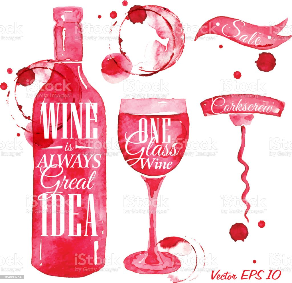 Pointer drawn pour wine with the inscription vector art illustration