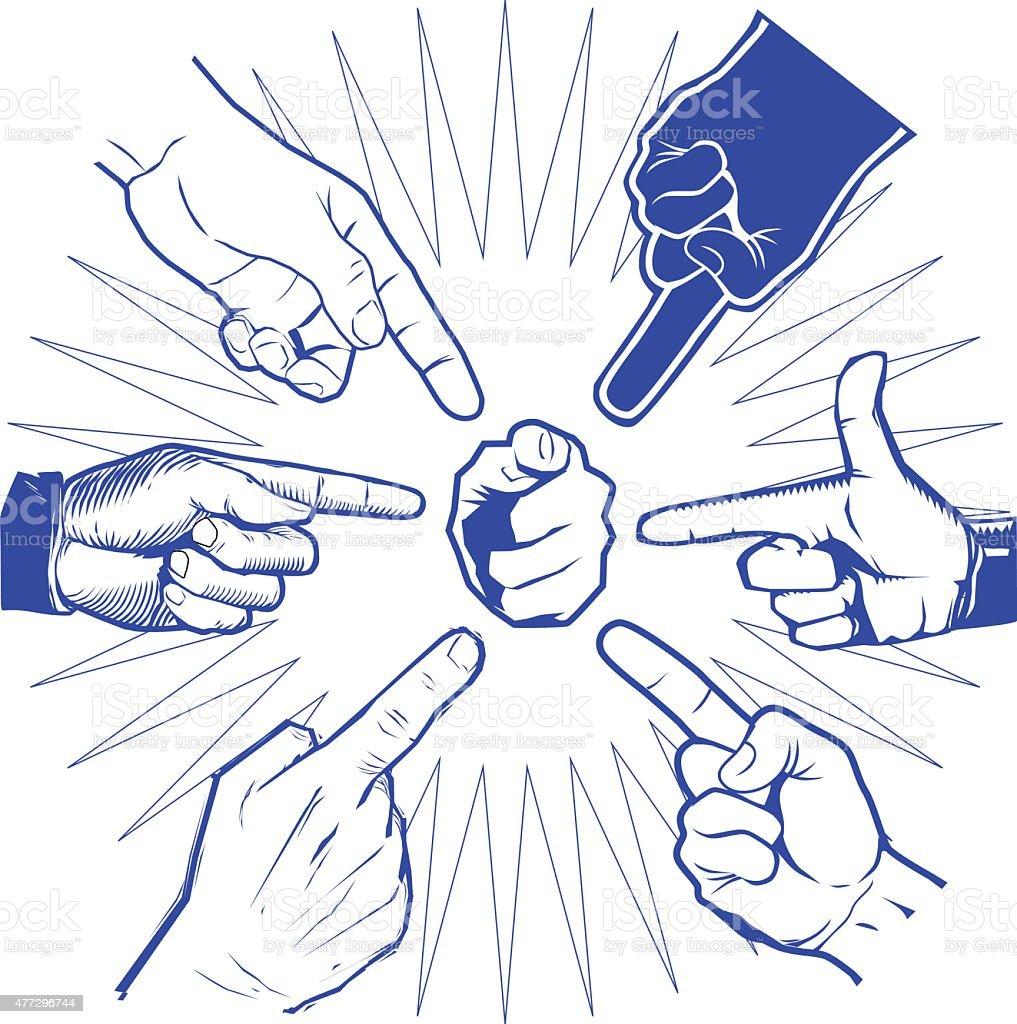Pointer Hands vector art illustration