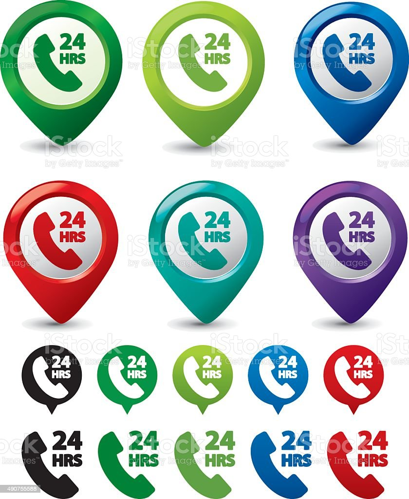pointers of phone assistant icon set vector art illustration